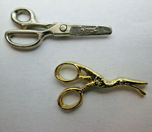 2 Scissor Tie Tacks for Barbers Tailors one Fixed and one with Cutting Action
