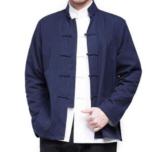 Men Traditional Chinese Tang Suit Jacket Coat Kung Fu Martial Arts Uniform Tops
