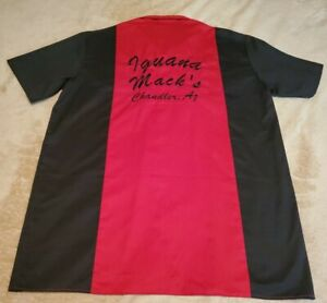 Iguana Macks Security mens XL button shirt Rare Arizona Black Red Embroidered