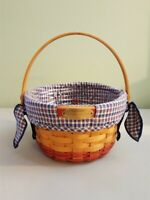Longaberger 2002 WOVEN MEMORIES Basket Blue Homestead Fabric Liner Protector