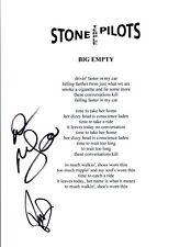 Robert & Dean DeLeo Signed Stone Temple Pilots BIG EMPTY Lyric Sheet COA