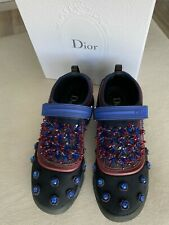 CHRISTIAN DIOR Embellished FUSION Trainers in Black, Blue and Burgundy Size 37.5