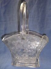 Heisey Lead Crystal Basket Handle Rectangle Etched Flowers & Leaves