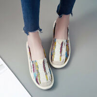 Womens Printing Strip Flat Loafers Mules Shoe Slip On Casual Comfort Espadrilles