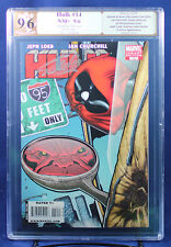 HULK #14, HTF McGuinness Deadpool Variant PGX (not CGC) 9.6 NM+signed STAN LEE