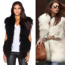 Women's Luxury Gilet Real Mongolian Lamb Fur Vest Waistcoat Sleeveless Outwear
