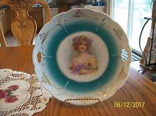 Cake Plate Double Handle Porcelain China  Antique Victorian Lady & Purple Violet