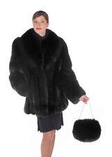 "Full Pelt Real Fox Fur Jacket Black 29"" - Her Majesty"
