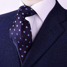 Navy Blue With Light Blue GEOMETRIC Pattern Woven Skinny Tie