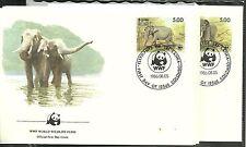 SRI LANKA/ WWF 1986-Elefanten MiNr 753/56 auf 4 FDC