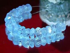 20 NATURAL TOP GRADE BLUE FACETED AQUAMARINE NUGGET BEADS STRAND 37ctw 7.5-9mm