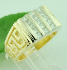 14k 2 tone Gold Mens Natural Princess Cut Diamond Ring Channel Set  Greek design