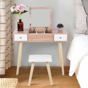 Modern Dressing Table Stool Set Jewelry Makeup Desk With Mirror & Drawer Bedroom