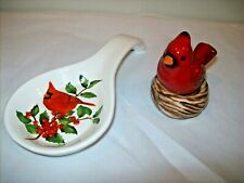 """""""Cardinal Spoon Rest"""" and """"Cardinal on Nest Salt & Pepper Set"""""""