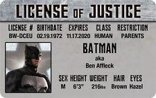 JUSTICE LEAGUE of AMERICA Batman Ben Affleck  Plastic ID  card Drivers License