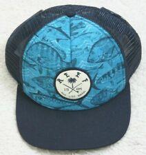 Reef Fishing Baseball Style Hat Adult Snapback Cap Mens Man Polyester Black Blue