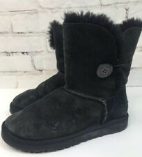 UGG AUSTRALIA BAILEY BUTTON BLACK  SHEEPSKIN LEATHER ANKLE BOOTS Size 7 5803