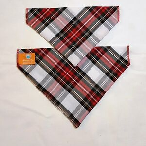 Red & White Tartan Dog Bandana - slips onto your dogs collar 2 sizes available