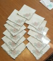 12 Vintage Table Cloth Napkins Pink Applique Flowers & Embroidery Set cut work