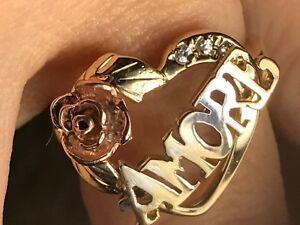 GOLD Amor RING 14k love heart rose flower simulated Diamond 7 ask 5 6 8 9