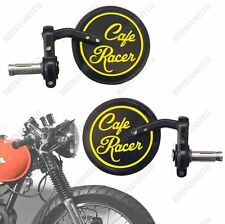 COUPLE OF BAR END MIRRORS VINTAGE WITH CAFE RACER LOGO YELLOW