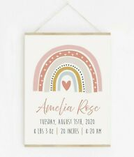 Scandi Rainbow Personalised Birth Stats Print Pink Girl Baby Gift Wall Art 637-A