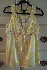 EXPRESS Design Studio Ladies Size  S, SILK Yellow/White Print, NEW w/Tags