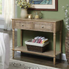 French Country Two Drawer Hall Table, Driftwood