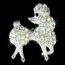 w Swarovski Crystal AB French White ~POODLE DOG Puppy Animal Pet Pin Brooch Xmas