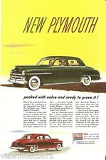 Plymouth Chrysler Advertisement 1950 styling vintage  car vehicle ad rockabilly
