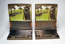 The Shepherdess/Very Nice circa 1925 Pompeian Bronze Antique Bookends