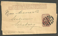 Reina Victoria 1/2d Brown Wrapper perfined DLR. CE I H numeralto Salisbury 1897