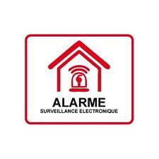 Autocollant Etablissement maison magasin sous vidéo surveillance alarme 7 10x10