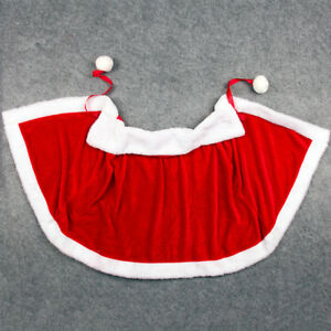 Women's Merry Christmas Mrs Santa Claus Red Cloak Xmas Costume Pleuche Cape