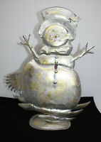 "Vintage Stamped Tin Snowman Christmas Decor ~ 18"" Tall ~ Table Top Base Or Wall"