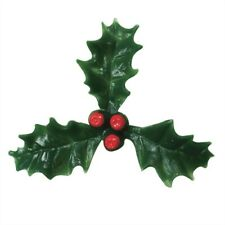 Christmas Holly and Red Berry Cupcake Yule Decorations Plastic Toppers 25mm 50mm