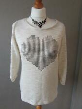 NEXT Ladies Beige Cream Loose Knit Jumper Sweater Top Studded Heart Size 10 VGC