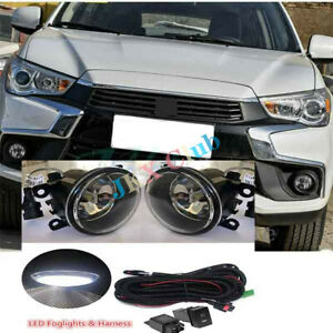 For Mitsubishi Outlander Sport ASX RVR 07-20 LED Fog Light Lamp w/ Wiring k Kit