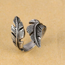 Men Woman Adjustable Antique Silver Titanium Steel Feather Ring Band Jewelry