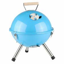 Mini Barbecue Sphérique Bleu Clair Gril Rond à Charbon de Bois Pique-Nique