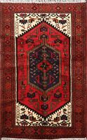 Geometric Traditional Hand-knotted Hamedan Area Rug Tribal Oriental Carpet 3'x5'