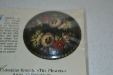 Painted Papier Mache Lacquered Flower Nos Russian Fedoskino Brooch / Pin Hand