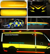 """Vvivid yellow reflective vinyl film 12"""" x 48"""" inches self adhesive decal roll"""