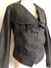 CAbi Charcoal Gray Moto Jacket Linen Women's Size Small Ruffle Waxed Jean Jacket