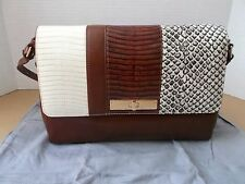 NEW BRAHMIN THEA BROWN SAHARA LEATHER SHOULDER BAG $325