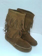 Minnetonka Women's Calf High Double Fringe Boot Size 6 Brown Suede Boho Hippy