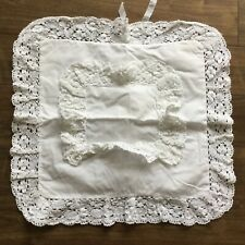 VINTAGE HAND MADE WHITE CROCHETED COTTON CUSHION COVER