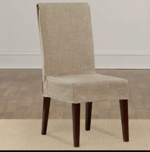 Sure Fit Textured linen polyester Dining Room Chair Slipcover sand tan new
