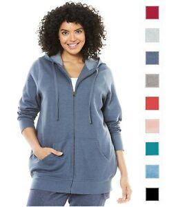 WOMAN WITHIN Zip Hooded Fleece Sweatshirt Jacket Reg Plus Sizes 290616RM