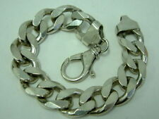 LOVELY THICK SOLID SILVER CURB BRACELET - 9 INCHES - THREE OUNCES